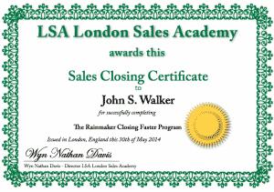 Sales Closing Certificate